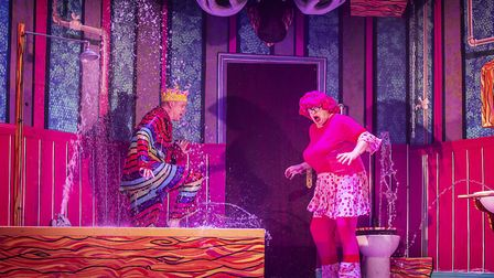 Ian Kirkby and Bob Golding in the bathroom scene in St Albans pantomime Sleeping Beauty at The Alban