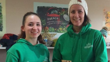 Emma Price and Sarah Taylor were part of the successful Riverside Runners women's team at the Waters