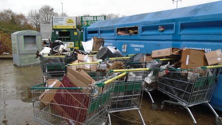 Eight shopping trolleys full of rubble were fly-tipped outside Morrisons in Hatfield Road, St Albans
