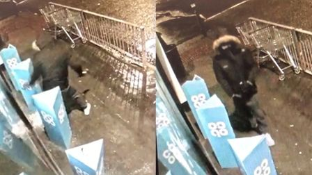 Police have released CCTV images of the moment a man tried to smash his way into a Co-op store with