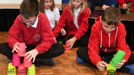 Stacking cups at Priory School in St Neots. Picture: ARCHANT