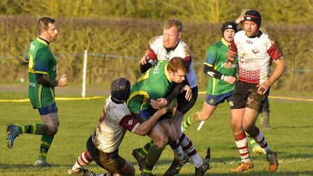 Action from Huntingdon's victory against Bedford side Queens last Saturday. Picture: DUNCAN LAMONT