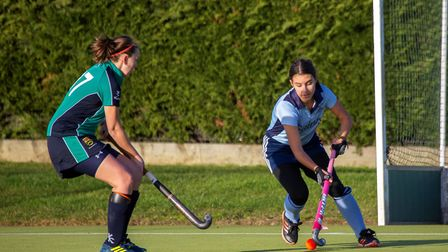 Millie Payne (right) grabbed the only goal as St Neots 1sts beat St Ives 1sts in an East Women's Lea