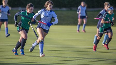 Sophie Faulkner of St Neots 1sts on the charge in their East Women's League derby clash against St I