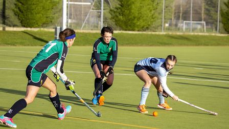 Chloe Cundick attempts a shot for St Neots 1sts in their East Women's League derby clash against St