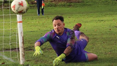 One of the many fine saves Blackberry Jacks keeper Enzo Sgambati made against Skew Bridge. Picture: