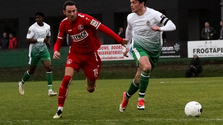 Tom Bender in action for St Albans City at Hemel Hempstead Town. Picture: JIM STANDEN