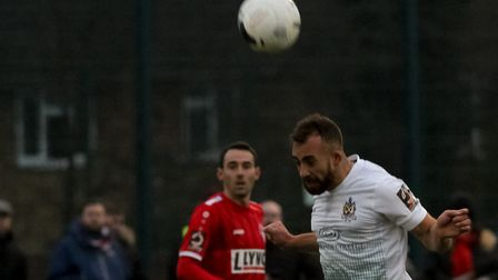 Scott Shulton in action for St Albans City at Hemel Hempstead Town. Picture: JIM STANDEN