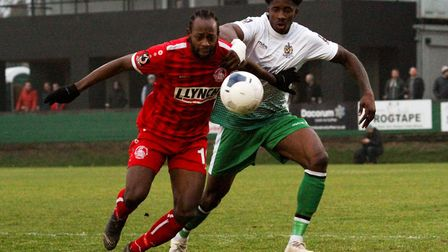 David Longe-King in action for St Albans City at Hemel Hempstead Town. Picture: JIM STANDEN