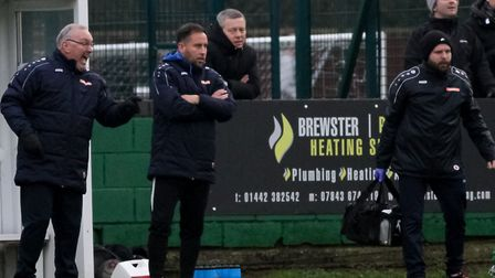 St Albans City manager Ian Allinson with assistant Chris Winton at Hemel Hempstead Town. Picture: JI
