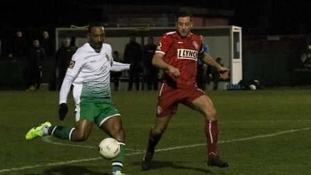 Jefferson Louis in action for St Albans City at Hemel Hempstead Town. Picture: JIM STANDEN