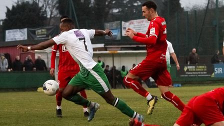 Munashe Sundire in action for St Albans City at Hemel Hempstead Town. Picture: JIM STANDEN