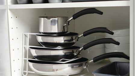 6. Wilko Multi Purpose Storage Stand, pots and pans from a selection, Wilko. Picture: PA Photo/Hando