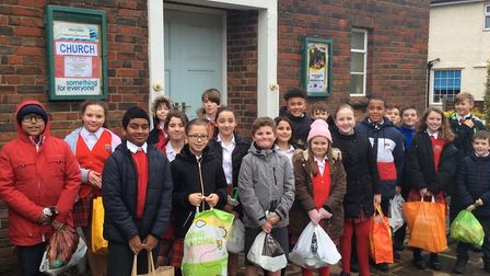 St Bernadette pupils delivering their Reverse Advent Calendar items Picture: Mrs Lavelle-Murphy and