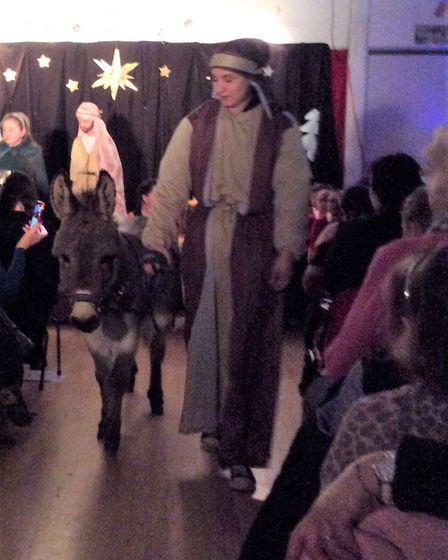 Declan the Donkey from Ark Farm makes his theatrical debut as part of the Nativity play Picture: Lav