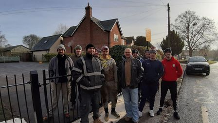 Johnson Matthey workers helping out at Therfield First School for their community volunteering day.