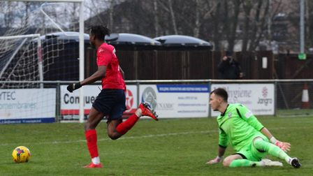 Prince Mutswunguma puts St Neots Town ahead at Bedford Town on Boxing Day. Picture: DAVID R. W. RICH