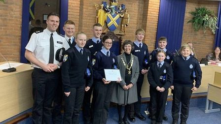 St Albans Cadets were presented with an award for their service to the community. Picture: Herts pol