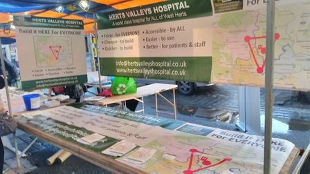 Herts Valleys Hospitals campaigners spoke to members of the public at the Christmas market. Picture:
