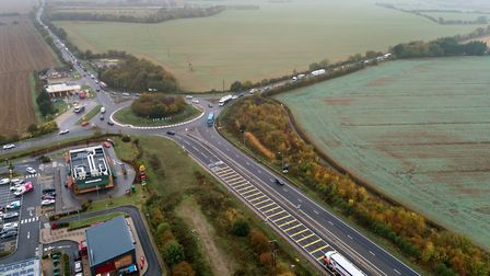 The Caxton Gibbet roundabout of the A428 and A1198 in Cambridgeshire PICTURE: Highways England