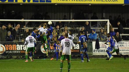 St Albans City apply the pressure during their National League South game at Wealdstone. Picture: AD