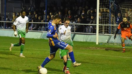 Tom Bender gets a foot in for St Albans City against Wealdstone. Picture: ADAM WILLIAMS