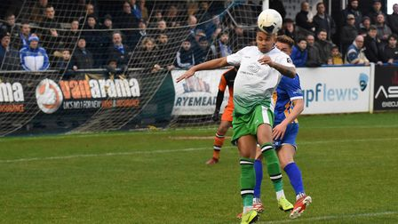 Frankie Musonda in action for St Albans City during their National League South game at Wealdstone.