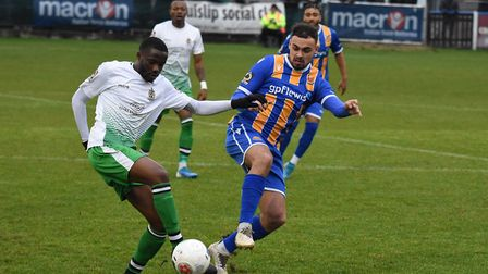 Solomon Nwabuokei in action for St Albans City at Wealdstone. Picture: ADAM WILLIAMS