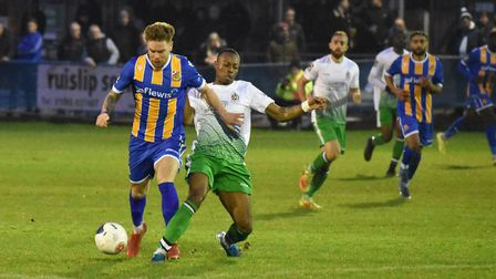 Munashe Sundire gets a foot in for St Albans City against Wealdstone. Picture: ADAM WILLIAMS