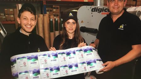 Sally Wynter pictured with the labels for her new beverage brand Picture: Sally Wynter