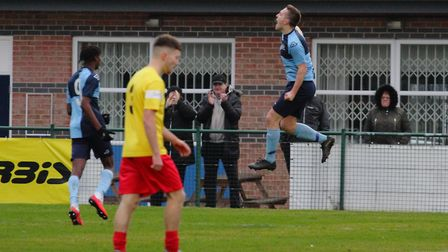 Sam Gomersall celebrates during St Neots Town's success against Kempston Rovers. Picture: DAVID R. W