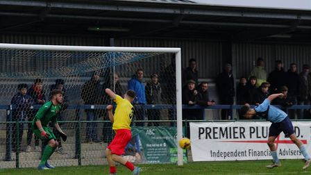 Joe Sutton heads in a goal for St Neots Town against Kempston Rovers. Picture: DAVID R. W. RICHARDSO