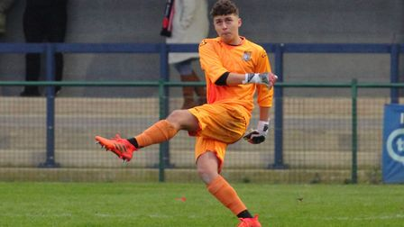 Goalkeeper Jacob Crosby during his St Neots Town debut against Kempston Rovers. Picture: DAVID R. W.