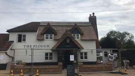 Outside The Plough Sleapshyde, after a fire damaged the kitchen and shed storage. Picture: Sean Hugh