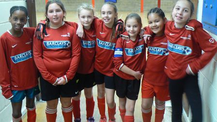 Thorndown Primary School line up for the camera at the Hunts School Sports' Partnership futsal compe
