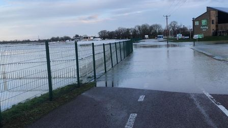 Huntingdon Racecourse has been hit by flooding. Picture: HUNTINGDON RUGBY CLUB