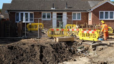 A sinkhole opened up in Fontmell Close, St Albans.