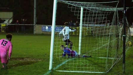 Dylan Wilson finds the net for St Ives Town against AFC Rushden & Diamonds. Picture: LOUISE THOMPSON
