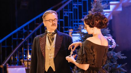 Simon Shepherd and Helen George in My Cousin Rachel, which can be seen at Cambridge Arts Theatre. Pi