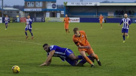 George Bailey on the attack for St Ives Town in their defeat at Nuneaton Borough. Picture: LOUISE TH