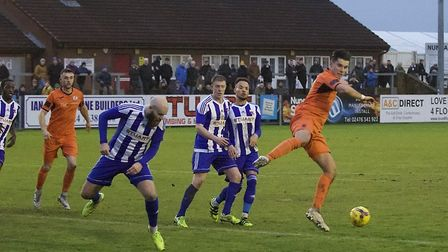 Tom Wood in action for St Ives Town during the defeat at Nuneaton Borough. Picture: LOUISE THOMPSON