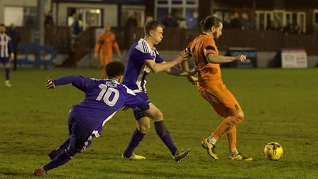 St Ives Town captain Robbie Parker on the ball at Nuneaton Borough. Picture: LOUISE THOMPSON