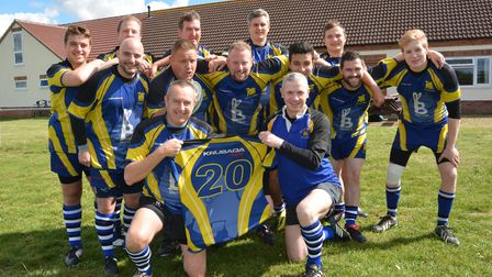 St Ives chairman Mark Smy (front, left) when celebrating the club's 20th anniversary back in 2015. P