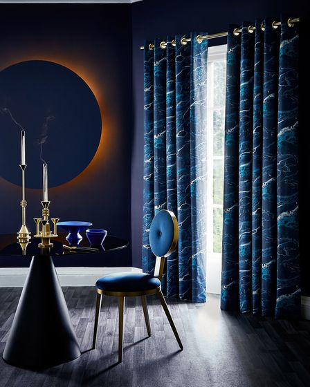 Guarantee A Blue Skies Outlook: Onyx Magma curtain and Roman blind range, in a blue-toned marble eff