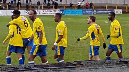 Jefferson Louis scored his first St Albans City goal against Hungerford Town.
