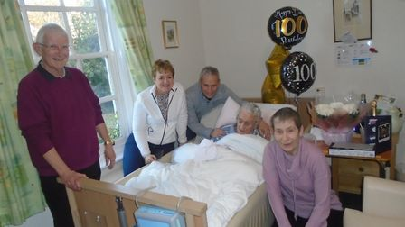 Roy Cooper celebrated his 100th birthday with his family and staff at Verulam House Care Home in St