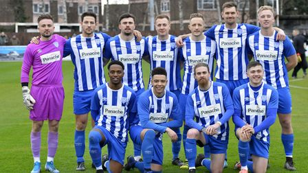 The Eynesbury Rovers team pictured ahead of their FA Vase clash with Leighton Town. Picture: DUNCAN