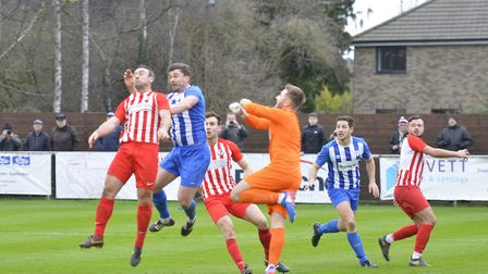 Action from Eynesbury Rovers' defeat to Leighton Town in the FA Vase. Picture: DUNCAN LAMONT