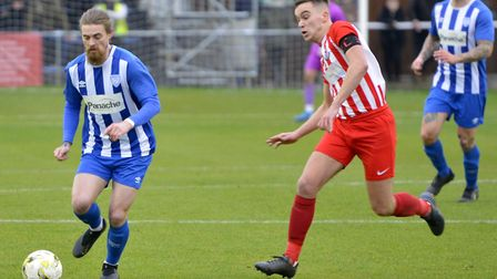 Scott Sinclair on the ball for Eynesbury Rovers during the FA Vase clash with Leighton Town. Picture