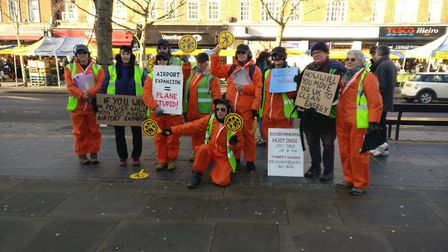 Extinction Rebellion held a demonstration against Luton Airport's expansion in St Albans. Picture: E